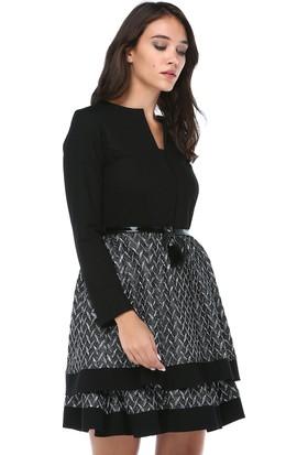 B&S Line Kadın Kemerli Gümüş Jakar Etek Keçe Elbise