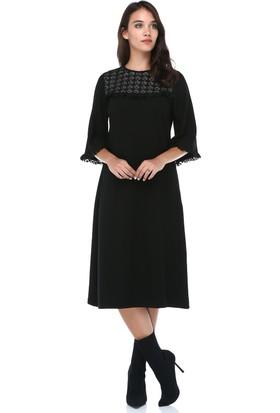 4c72c38929c73 B&S Line Kadın Dantelli Düz Taşlı Siyah Elbise ...