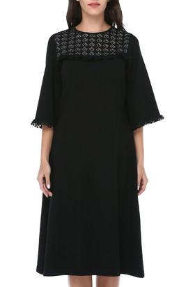 42ba5f2378088 ... B&S Line Kadın Dantelli Düz Taşlı Siyah Elbise