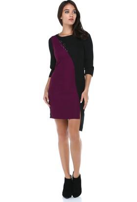 B&S Line Kadın Mor Garnili Taşlı Siyah Elbise