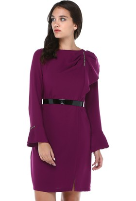 55637e5f158be B&S Line Kadın Lila Omuz Detaylı Taşlı Elbise ...