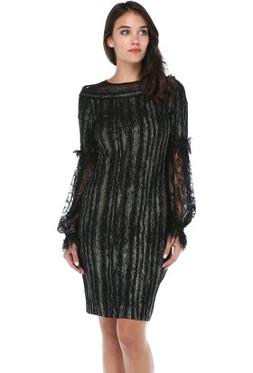 a4a0bd81a847c B&S Line Kadın Kolları Dantel Yakası Tül Siyah Elbise ...