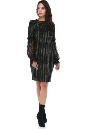 b7c6f73a168b8 ... B&S Line Kadın Kolları Dantel Yakası Tül Siyah Elbise ...