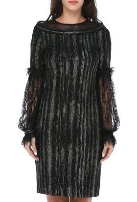 f44789892068c ... B&S Line Kadın Kolları Dantel Yakası Tül Siyah Elbise