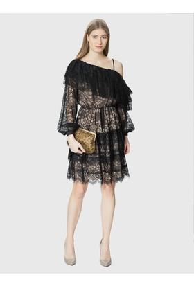 Roman Düşük Omuz Dantelli Siyah Abiye Elbise