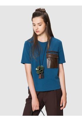 Roman Kahverengi Cep Detaylı Mavi Bluz