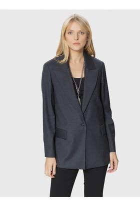 Roman Tek Düğme Detaylı Gri Kadın Ceket