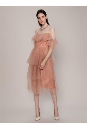 K19 Roman Tül Detaylı Elbise