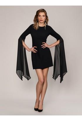 K19 Roman Kolları Tüllü Elbise