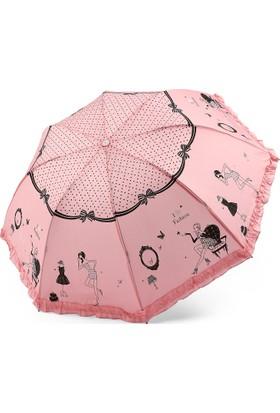 Almera Konsept İndigo Kadın Figürlü Pembe Şemsiye 316
