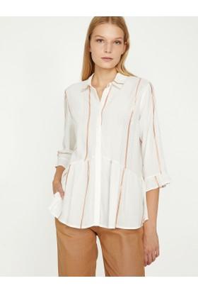 Koton Kadın Çizgi Detaylı Gömlek