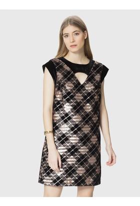 348b0b966d2fc Roman Boyun Detaylı Ekoseli Payet Elbise Roman Boyun Detaylı Ekoseli Payet  Elbise ...