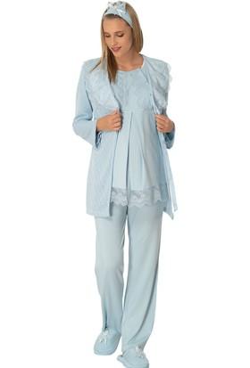 Şık Mecit 1904 Triko Sabahlıklı Üçlü Lohusa Pijama Takımı