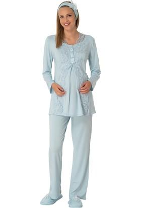 Şık Mecit 1909 Şehzade Model Dantelli Lohusa Pijama Takımı