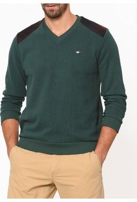 Tena Erkek 7088 V Yaka Omuz Ekoseli Sweatshirt