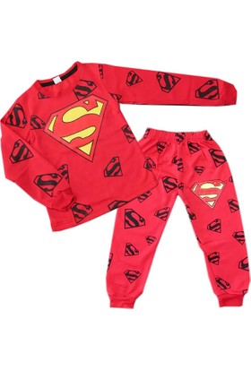 Kidsmadamiko 4784 Superman Erkek Çocuk Pijama Kırmızı