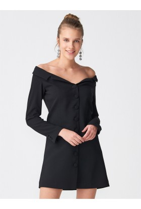 Dilvin 9850 Düşük Omuz Düğmeli Elbise Siyah
