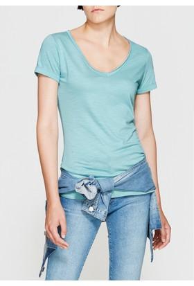 Mavi Kadın V Yaka Yeşil Basic Tshirt