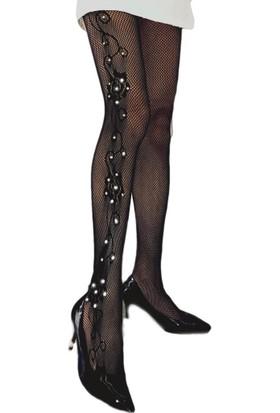 Vb Butik Kadın Seksi Fileli Kaliteli Külotlu Çorap Fantezi İç Giyim