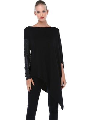 Quincey Kadın Deri Kollu Uzun Tunik