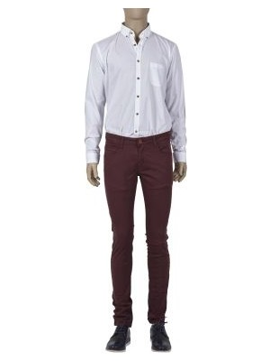 Html Bordo Erkek Desenli Slim Fit Pantolon
