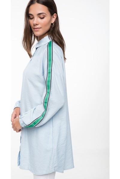 Defacto Kadın Kolları Şerit Detaylı Gömlek Tunik