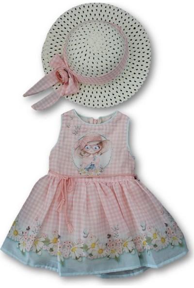 Biricik's Çiçekli Taşlı Şapkalı 2'Li Kız Çocuk Elbise