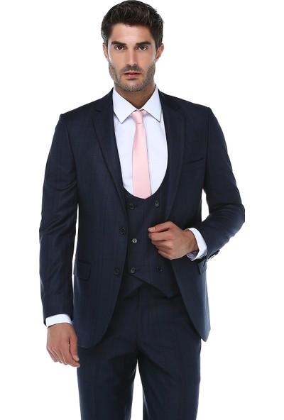 İmza Slim Fit Ekose Takım Elbise