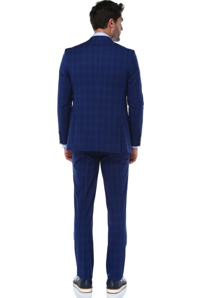 İmza Slim Fit Kareli Takım Elbise