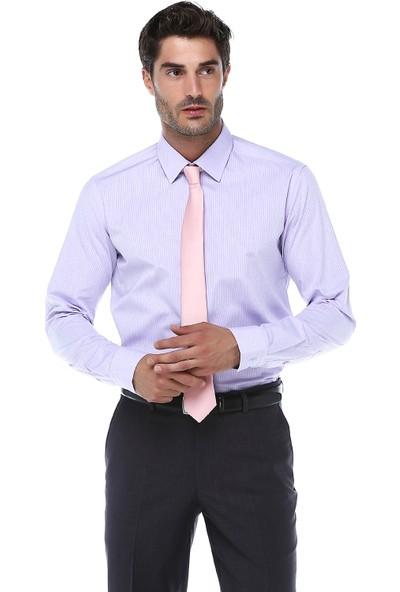 İmza Slim Fit Desenli Uzun Kol Gömlek