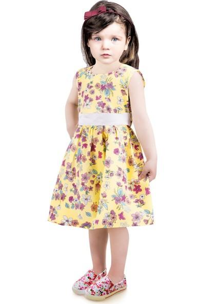 Oulabimir Çiçek Baskılı Yazlık Çocuk Elbisesi