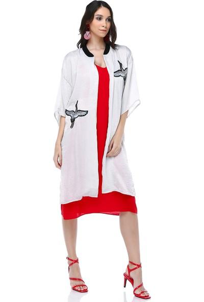 Cream&Rouge 18Y203 Kimono Kuş Nakışlı