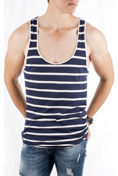 Deepsea Lacivert - Beyaz Çizgili Askılı Likralı Erkek Atlet 1802571