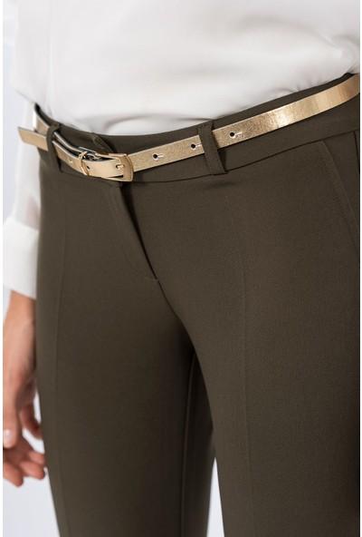 İroni Kemerli Dar Paça Haki Pantolon - 1581-891A Haki