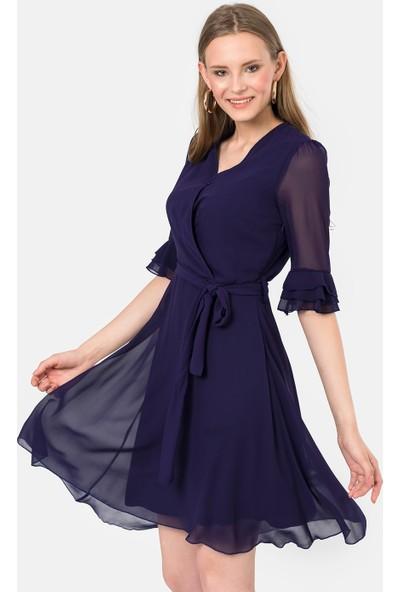 İroni İspanyol Kol Şifon Elbise