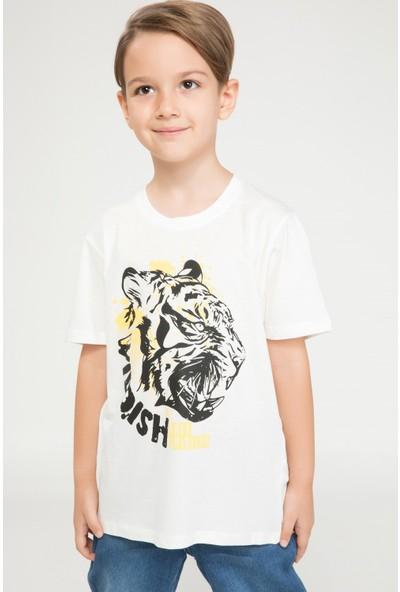 Defacto Erkek Çocuk Genç Erkek Bisiklet Yaka Kaplan Baskılı Tshirt