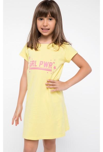 Defacto Kız Çocuk Yazı Baskılı Elbise