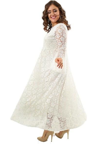 Angelino Butik Dd791 Büyük Beden Kolları Volanlı Komple Dantel Elbise Beyaz