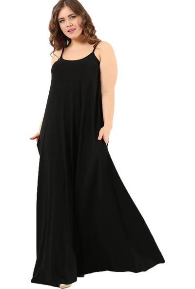 Angelino Butik Büyük Beden Spor Cepli Askılı Uzun Elbise Dd799 Siyah