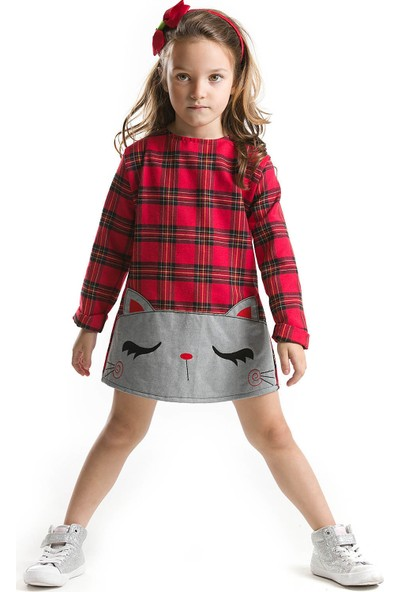 Mushi Kırmızı Ekose Kedicik Elbise