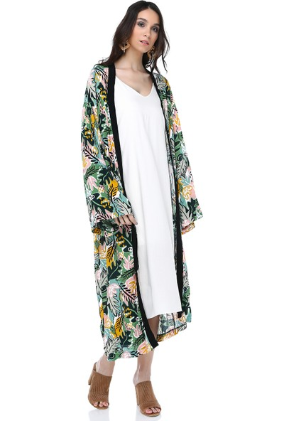 Cream&Rouge 18Y282 Kimono Desenli Garnili