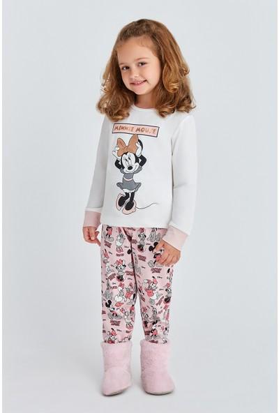 Mickey Mouse Lisanslı Kız Çocuk Pijama Takımı Krem