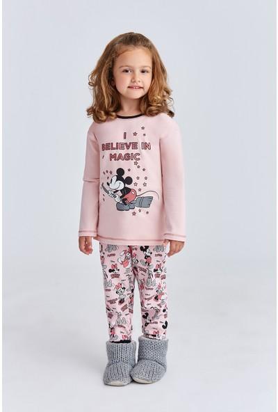 Mickey Mouse Lisanslı Kız Çocuk Pijama Takımı Pudra