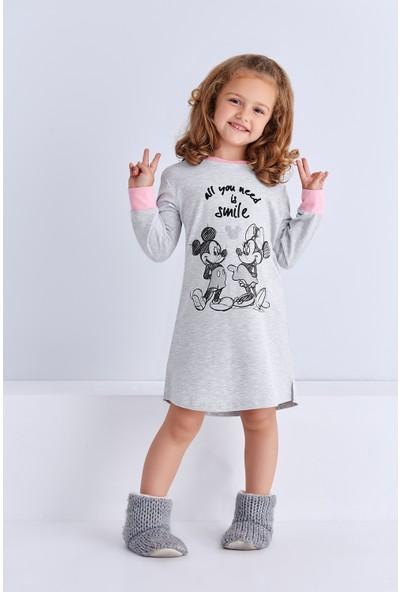 Mickey Mouse Lisanslı Genç Kız Gecelik Açık Gri