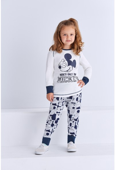 Minnie Mouse Lisanslı Genç Kız Pijama Takımı Krem
