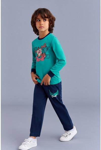 Tazmania Lisanslı Erkek Çocuk Pijama Takımı Yeşil
