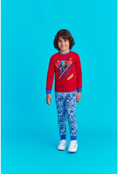 Superman Lisanslı Erkek Çocuk Pijama Takımı Kırmızı