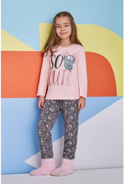 Roly Poly So Cute Kız Çocuk Pijama Takımı Somon