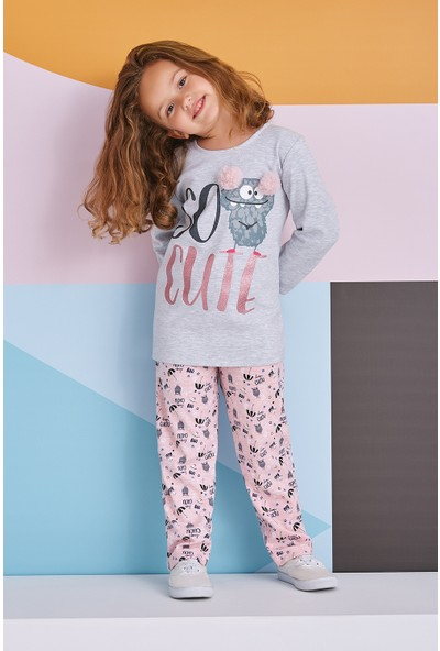 Roly Poly So Cute Kız Çocuk Pijama Takımı Açık Gri