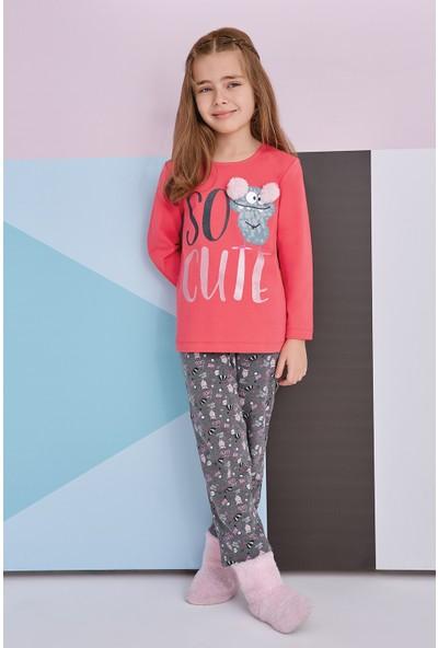 Roly Poly So Cute Genç Kız Pijama Takımı Nar Çiçeği